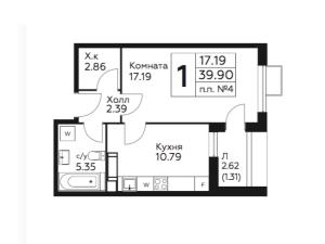 Планировка 1-комнатной квартиры в Южное Бунино - тип 1
